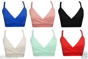 New-Womens-Ladies-Plain-Strappy-Bra-Crop-Top-Vest-Tank-Bralet-Top-8-14