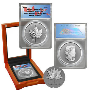 2017 $5 1 oz Reverse Proof Silver Maple Leaf -CANADA 150 Privy Mark ANACS RP 70
