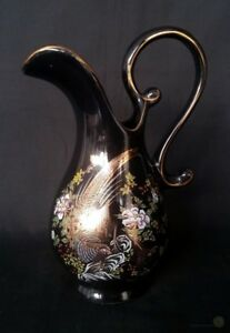 VTG-Oriental-Black-And-Gold-Pheasant-Pitcher-20-5cm-Tall-FREE-Delivery-UK