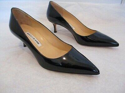 MANOLO BLAHNIK Black Patent Leather 2 1