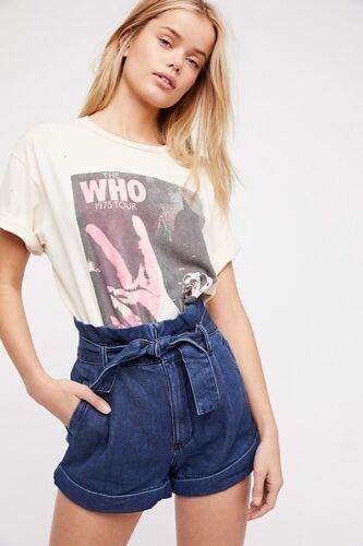 con Belt Pantaloncini jeans Sz Free 28 Hold People tasche Tight di corti Boho 8tw4IU