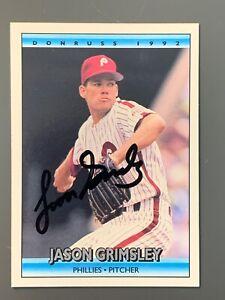 1992-Donruss-599-Jason-Grimsley-Autographed-Card-Philadelphia-Phillies