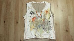 BiBA-Sommer-Top-Stretch-Damen-Pailetten-M-ohne-Arm-beige-tailliert-pastell-3307