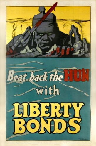 WW1 Propaganda Poster LIBERTY BONDS WWI Anti German American Military Decor