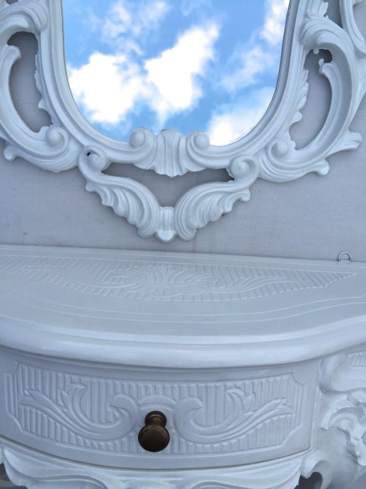 Miroir sale mural blanc ovale + console avec baroque de sale Miroir bain 50X76 37b53a