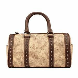 Details About Blazin Ro Womens Purse Doctor Bag Lydia Embossed Studded Taupe Brown N7510941