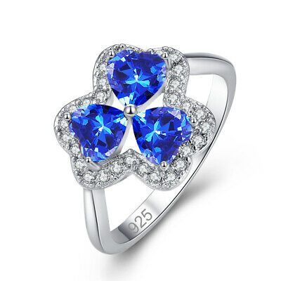Fashion Heart Cut Tanzanite Gemstone Silver Ring Size 6 7 8 9 Solitaire Style