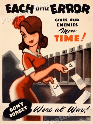 "1940s ""Each Little Error"" WWII Historic Propaganda War Poster 24x32"