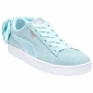 New Womens Puma Blue Pale Blue Basket Bow Suede Trainers Court Lace ... 9193accc2