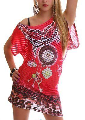 Donna Strass Long Shirt Asimmetrico Trasparente Strisce 34/36/38 Coral I Cataloghi Saranno Inviati Su Richiesta