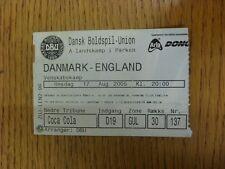 17/08/2005 Ticket: Denmark v England [At Parken Stadium] (folded). Unless previo