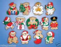 "Design Work Felt Applique kit 3"" x 4"" LOTSA BEARS 13 Ornaments #5394 Craft Supplies"