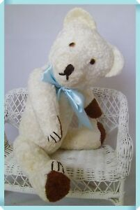 "Antique Dolls & Bears 19.7"" Faithful Lovely Vintage White Teddy Bear 50cm"