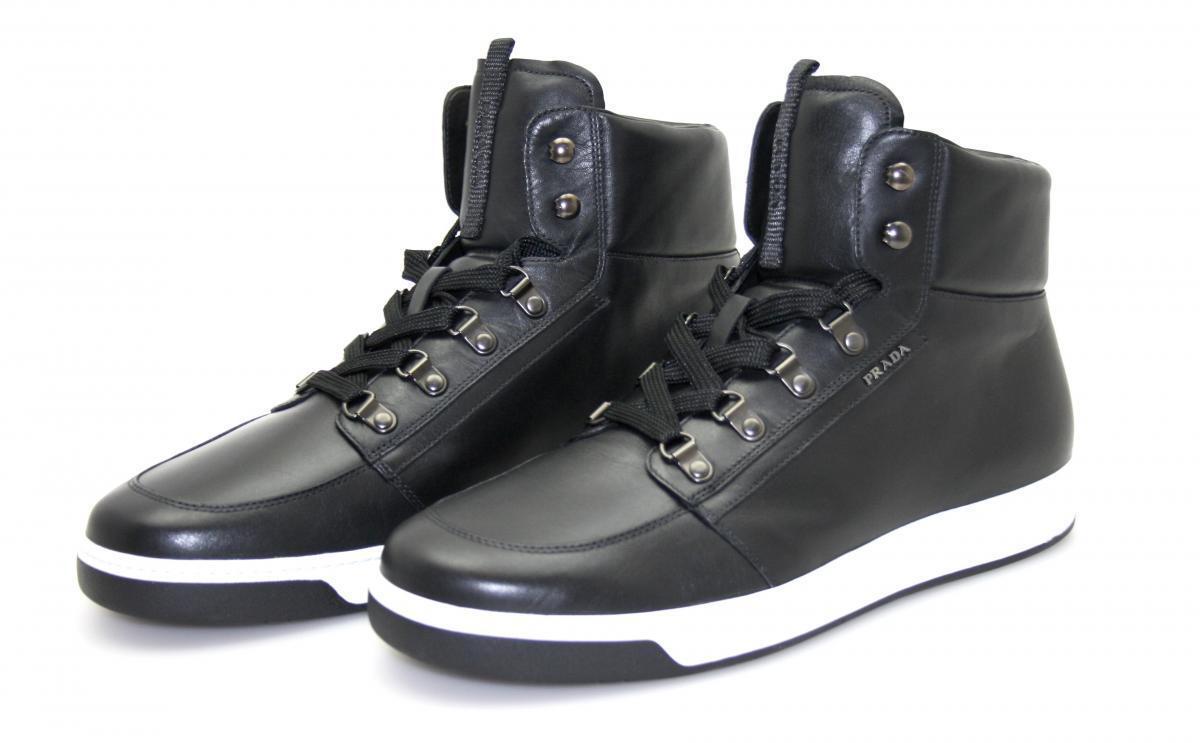 LUSSO PRADA Avenue Avenue Avenue scarpe da ginnastica High Top 4t2783 Nero Nuovo 570,- euro 6 40 40,5 | Good Design  9bd165