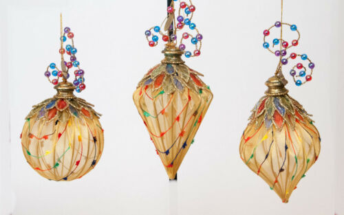 Christmas Katherine's Collection Silk /& Beaded Elegant Ornament Set of 3Excel