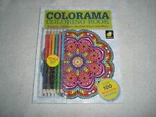 COLORAMA Coloring BookFlowers Paisleys Stained Glass W 12 Colored Pencils NEW