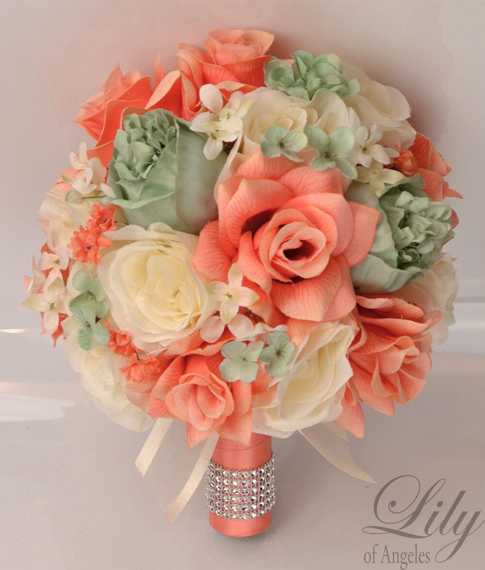 17 Pièce Paquet Soie Fleur Mariage Bridal Bouquet Lime Moss Comme neuf Corail Ivoire