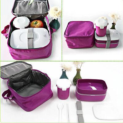 Japanese Bento Lunch Box Set Soup Mug Water Mug Insulated Carry Lunch Tote Bag