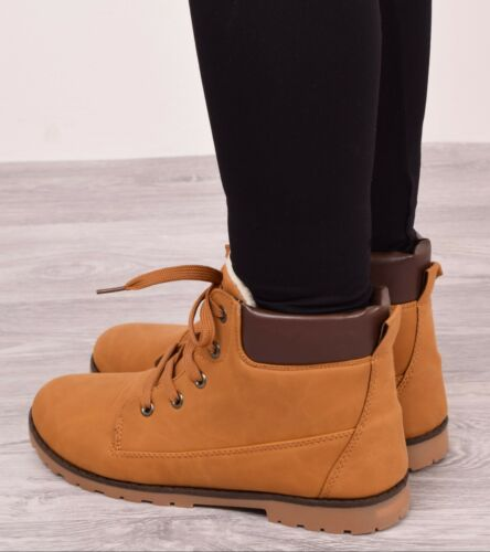 New Ladies Womens Winter Warm Ankle Boots Fur Casual Snow Lace Up Shoes Size 3-8