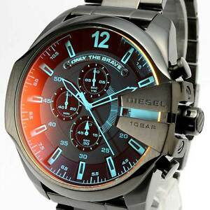 NEW DIESEL DZ4318 Mega Chief Mens Watch Chronograph Black Stainless ... 19dc509a634