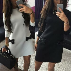 Womens-Bowknot-Pocket-Winter-Warm-Chiffon-Dress-Party-Cocktail-Casual-Slim-Skirt
