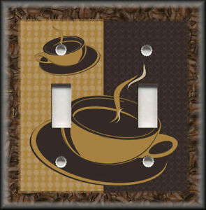 Image is loading Metal-Light-Switch-Plate-Cover-Coffee-Cups-Coffee- & Metal Light Switch Plate Cover - Coffee Cups Coffee Beans Home Decor ...