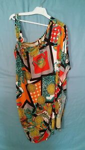 Womens-Plus-Size-Multi-Color-Abstract-Draped-Cowl-Bodycon-Tank-Dress-Size-3X