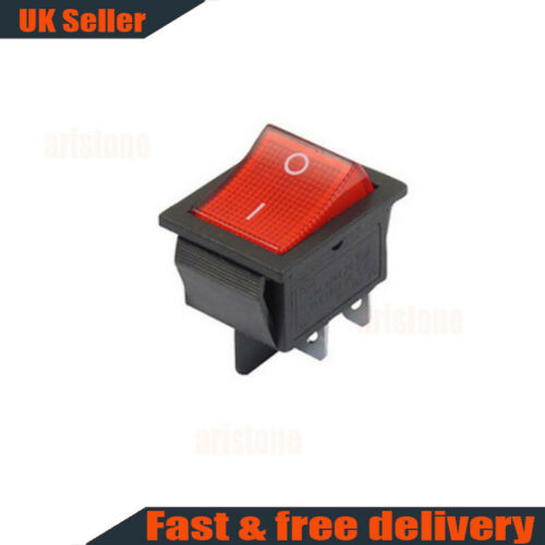 1X//5X Red Rocker Switch 240 V réseau ON//OFF DOUBLE POLE 4 Broches DPST
