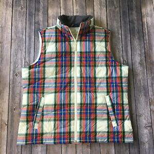 Lands-End-Vest-L-14-16-Plaid-Puffy-Down-Lightweight-Quilted-Sleeveless-Jacket