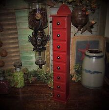 Primitive Antique Vtg Style Tall Wood Red Spice Rack Apothecary Cabinet Bin