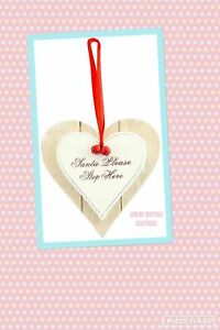 Cute-Shabby-Chic-Christmas-Heart-Hanging-Decoration-034-Santa-Please-Stop-Here-034