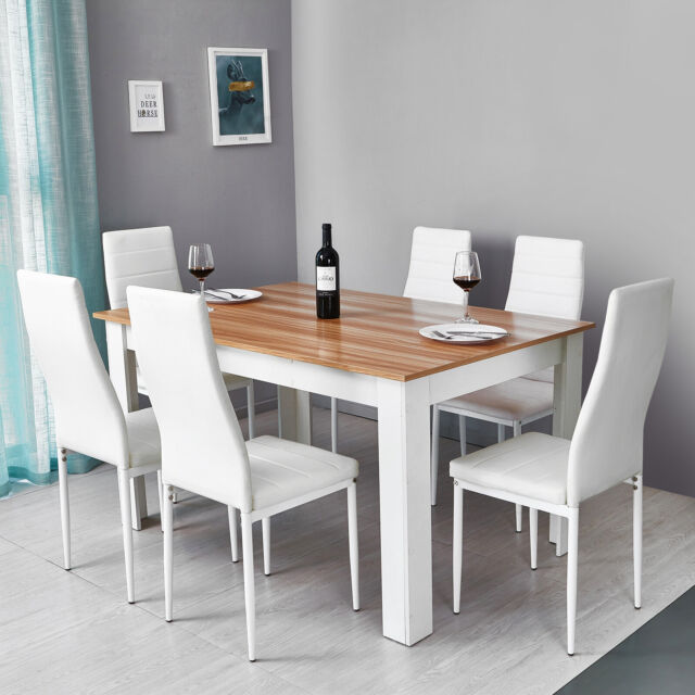 Wooden Dining Table Set W 6 Faux Leather Chairs Seat Kitchen Furniture Oak White For Sale Online Ebay