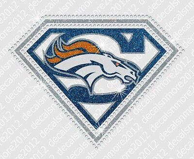 "Transfer Denver Broncos NFL Hotfix-Iron On Bling Glitter 8/"" x 3/"" -Free US Mail"