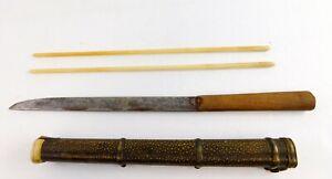 Antique-Chinese-Eating-Wood-Handle-Trousse-Knife-and-Bone-Chopsticks-Set-China