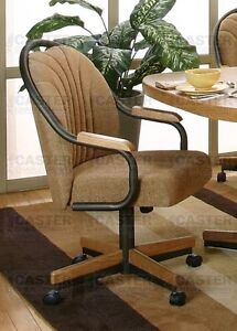 rolling dinette chairs casual rolling dining caster chair amp swivel tilt set of 2 1983