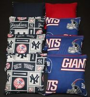 8 Cornhole Bean Bags Made W York Yankees And Giants Fabric Ny Toss Game Mlb