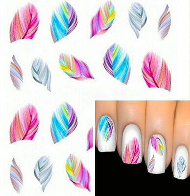 Colorful Beauty FEATHER Nail Art Water Transfer Decal Sticker Rainbow Dreams New