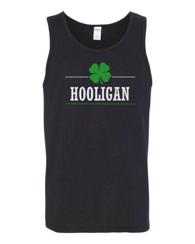 Mens Tank Top Hooligan T Shirt Lucky Green Clover St Patricks Day Irish Shamrock