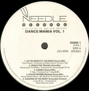 VARIOUS-Dance-Mania-Volume-1-1987-Needle-Records-LP-UK-DAMA-1