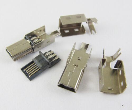 100 pcs Mini USB Plug Male Socket Connector 5 Pin Metal