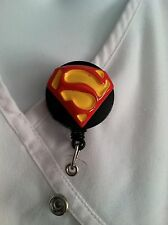 SUPERMAN DC COMIC ID BADGE HOLDER NURSES MEDICAL MA ALLIGATOR CLIP RN HANDMADE