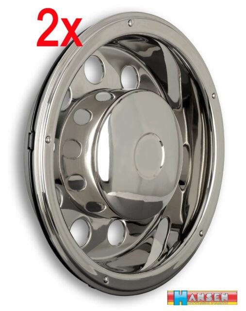 "2x 22,5"" wheel trim hub cap covers stainless steel truck lorry coach bus Volvo"