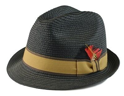 Mens Summer Cool Casual 100% Paper Fedora Black/Brown Band with Feather (ML-996)