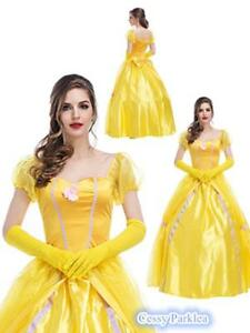 Image is loading Ladies-Beauty-and-the-Beast-Princess-Belle-Costume-  sc 1 st  eBay & Ladies Beauty and the Beast Princess Belle Costume Party Gown Fancy ...