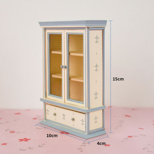 1//12 Puppen Hausmöbel Holzschrank Bücherregal Doppeltüren DIY Zubehör