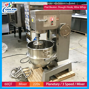 Details about 60 QT Mixer Commercial Stainless Steel Mixer 3 agitator tools  Cooler Depot New