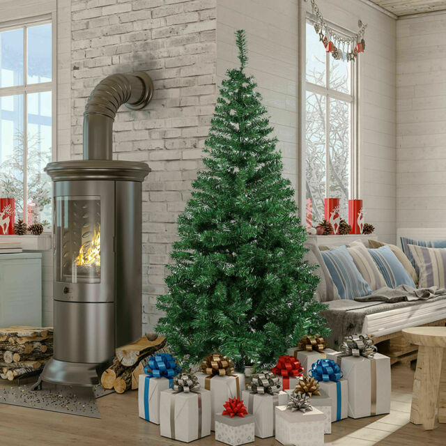 7Ft PVC Artificial Unlit Christmas Tree with Stand Holiday Home Decoration NEW