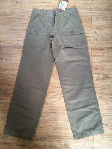 Retro Roxy Green Cotton Army Cargo Pants Chino Khaki Jeans Ladies Size UK 10