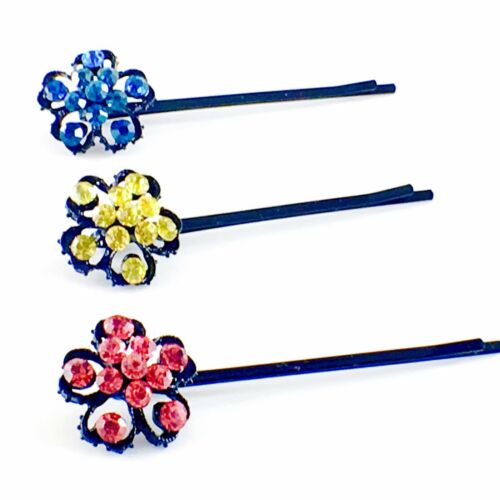 USA Bobby Pin Rhinestone Crystal Hair Clip Hairpin Jeweled Vintage Unique Blue