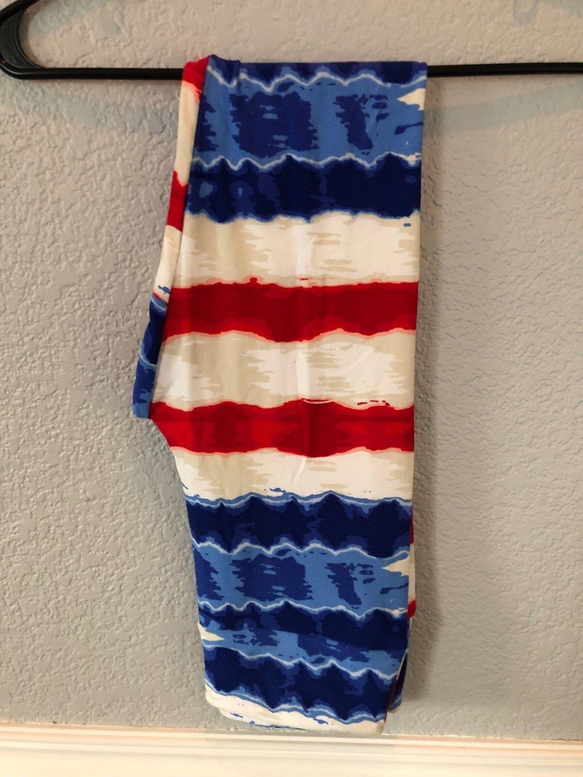 652541ab47eac NWT LuLaRoe Leggings OS American Dreams Red White & bluee Tie Dye SUPER  CUTE HTF